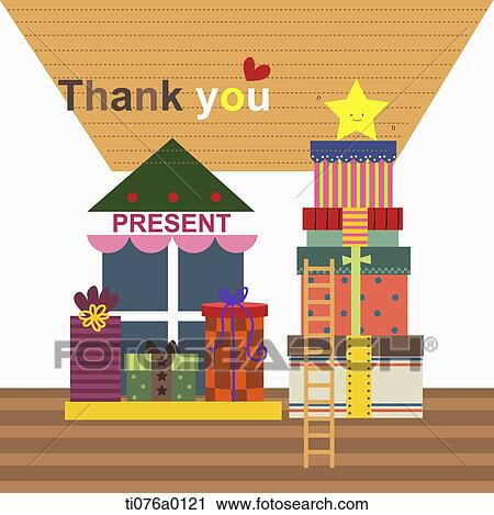 Clipart Of The Gift Boxes And Ladder With Thank You Word Ti076a0121