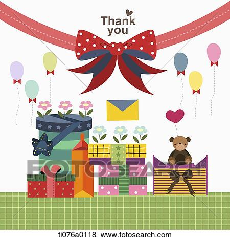 Stock Illustration Of The Gift Boxes And Red Ribbon With Thank You