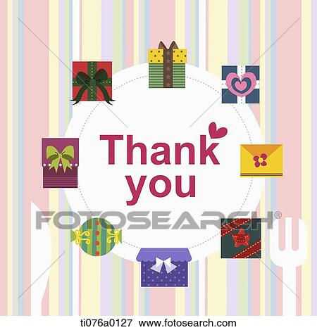 Stock Illustration Of The Gift Boxes Around Thank You Word
