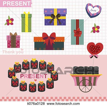 Stock Illustration Of The Gift Boxes With Present And Thank You Word