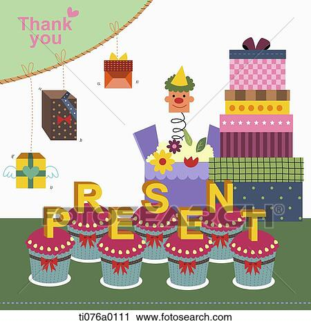 Clipart Of The Gift Boxes With Thank You Word And Present Cupcake