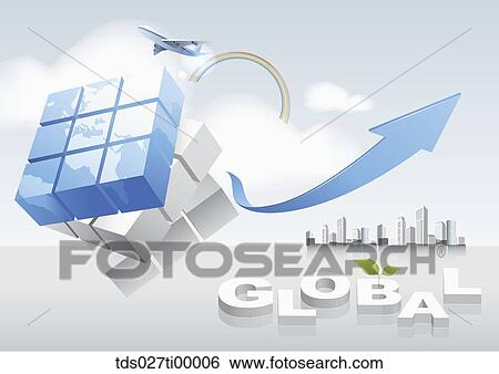 Stock illustration of the world map cube blue arrow flying stock illustration the world map cube blue arrow flying airplane sky scrapers gumiabroncs Image collections