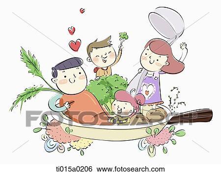 家族 で おいしい 食事 イラスト Ti015a0206 Fotosearch
