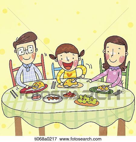 幸せな家族 持つこと A 食事 一緒に イラスト Ti068a0217 Fotosearch