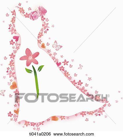 白い結婚式 服 で 花 イラスト Ti041a0206 Fotosearch