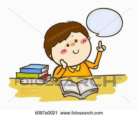 clipart of a boy thinking with books ti087a0021 search clip art rh fotosearch com clipart of a bone clipart of a bone