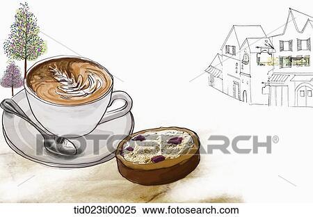 Stock Illustration A Tasse Kaffee Und A Stuck Kuchen