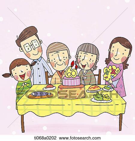 Clip Art Of Family Having Grandparents 60th Birthday