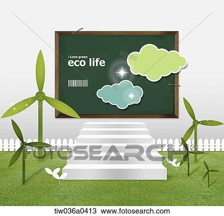 Tableau Noir Et Plante Verte à Eco Vie Dessin