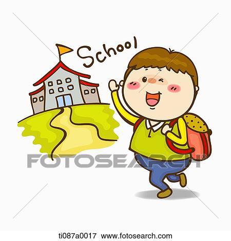 Colección de ilustraciones - un, niño, ir al colegio ...