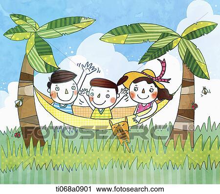 Clipart Illustration De Gens Sur A Hamac Entre Palmiers
