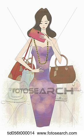 Drawing Woman Putting Her Wallet Into Handbag Fotosearch Search Clip Art Illustrations