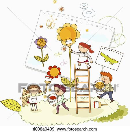 20687fe8ffc Παιδιά, ζωγραφική, ο, λουλούδι Αποθήκη Φωτογραφίας   ti008a0409 ...