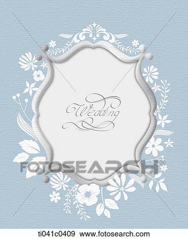 Stock Fotograf Grau Rahmen Und Weisse Blume Hochzeitskarten