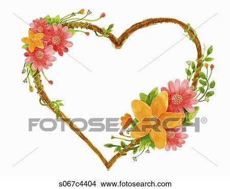 Banque De Photo Rose Jaune Fleur Forme Coeur Couronne S067c4404
