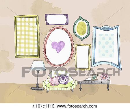 Tekening - brief, papier, met, lijstjes, en, spiegels, in, de ...