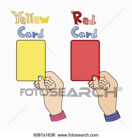 Palabra Arte De Tarjeta Amarilla Y Tarjeta Roja Coleccion De Ilustraciones