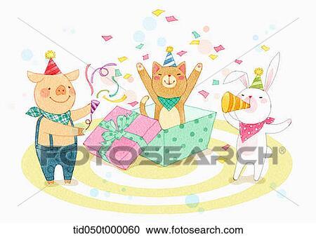 イラスト の 動物 持つこと A 誕生日パーティー ストックイメージ