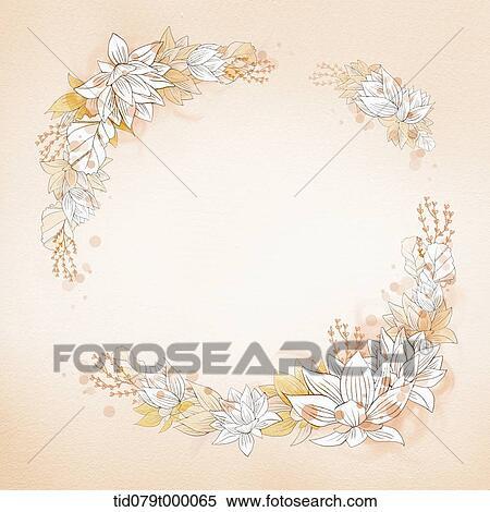 イラスト 花 フレーム 中に オレンジ イラスト Tid079t000065