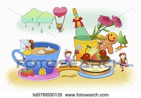 Stock Illustration Abbildung Von Kinder Auf A Phantasie Land