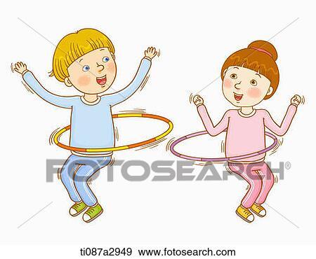 Colección de ilustraciones - un, ilustración, de, niños, hacer ...