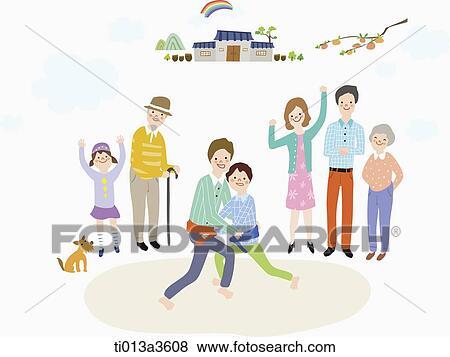 イラスト の 拡大家族 ゲームを すること 中に Chuseok イラスト