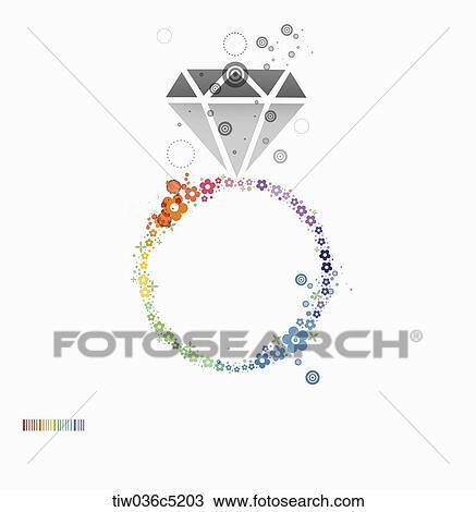 A カラフルである イラスト の A ダイヤモンド指輪 スケッチ