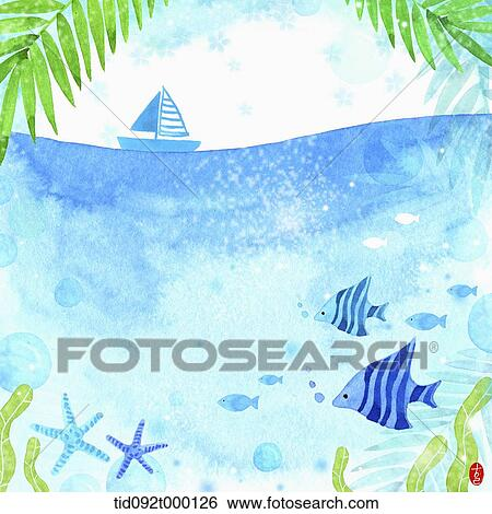 stock illustration of illustration memo template of under the sea