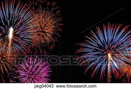 stock photo of neon night flame blaze spark fireworks display