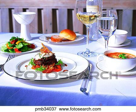 Glass bread table setting salad western dish western food & Picture of glass bread table setting salad western dish western ...