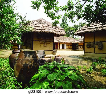 Stock Photography of cottage, province, country, farm village ...