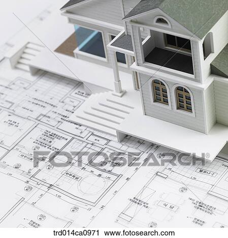 Stock Photography House House Model Plan Draft Concept Real
