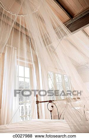 Bed, bedroom, curtain, fabric, home, net, white Stock Photo