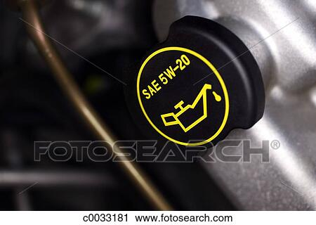 Stock Photography Of Close Up Of The Motor Oil Cap On A Car Engine