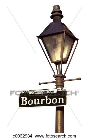 Stock Photo Of Silhouette Of A Lamp Post With A Sign For Bourbon