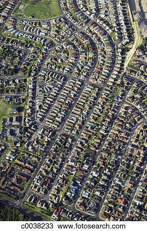 aerial of suburban community