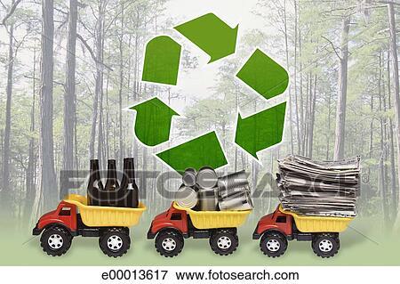 Foto Reciclaje De Simbolo Carros Del Juguete Proceso De Llevar