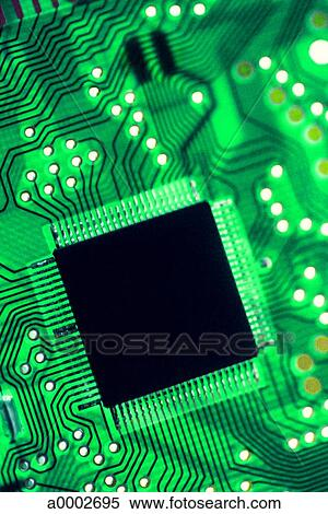 background circuit board close up computer chip green technology