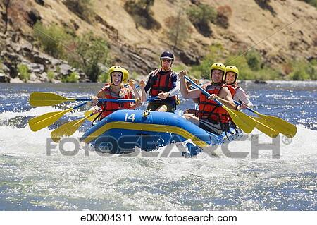 Stock Photography Of People Whitewater Rafting E00004311