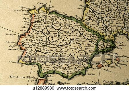 Map Of Spain Old.Old Map Of Spain Stock Photograph