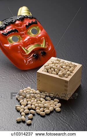 Picture Of Oni Mask And Bamboo Box Of Roasted Soybeans For Setsubun