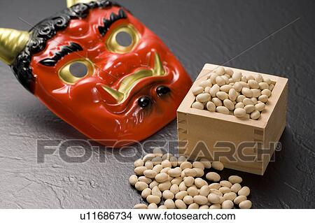 Stock Photo Of Oni Mask And Bamboo Box Of Roasted Soybeans For