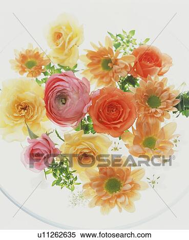 Stock Image Of Peach Yellow And Pink Flower Arrangement U11262635
