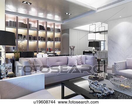 Contemporaneo, soggiorno, con, lavanda, colorato, divano Immagine ...