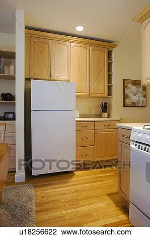 Fridge in small apartment kitchen Stock Image