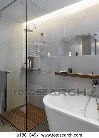 Beeld - klein, glas, douche, in, hoek, van, hippe, badkamer ...