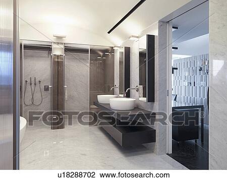 Marmeren Badkamer Vloer : Stock foto marmeren vloer in hippe badkamer u zoek
