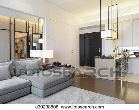 Moderne, intérieur, appartement, style, maison Banque de Photo