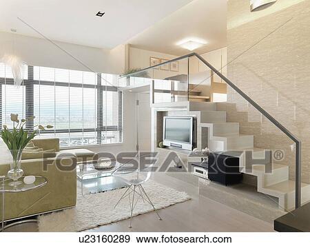 Salle de séjour, et, escalier, dans, moderne, maison Banque de Photo
