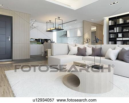 Sectional Sofa With Throw Pillows In Modern Living Room Stock Photo